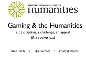 Intro slide: Game & the Humanities