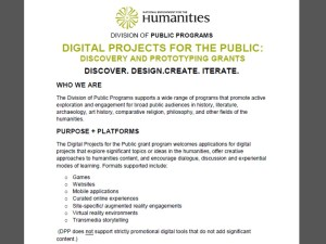Description of new Digital Projects for the Public program