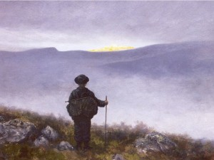 """Soria Moria"" by Theodor Kittelsen: a hero glimpses the end of his quest"