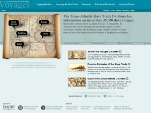 Screen capture of slavevoyages.org website