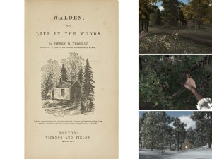 Cover of Walden; screenshots from Walden game