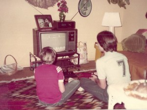 Old photo playing Atari