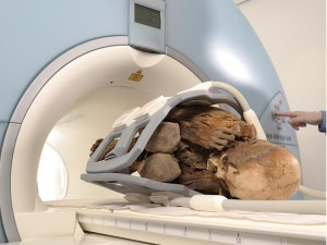 Mummy in MRI machine