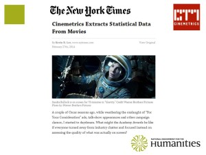 Cinemetrics project featured in recent Oscar coverage in NYTimes