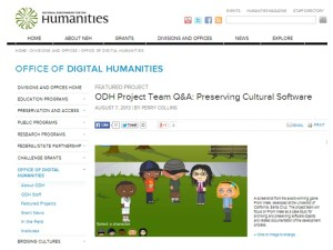 ODH website: interview with Preserving Cultural Software team